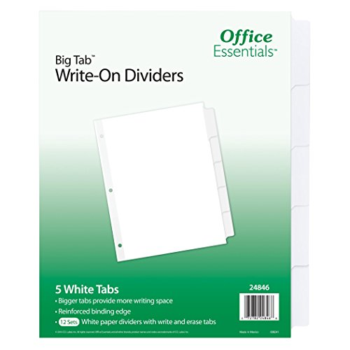 Office Essentials Big Tab Write-On Dividers, 8-1/2'' x 11'', 5 Tab, White Tab, 12 Pack (24846) by Office Essentials