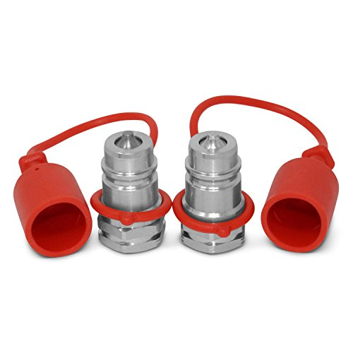 "2 Pack - Ag ISO 5675 Hydraulic Quick Connect Male Coupler, Poppet Valve, 7/8""-14 ORB Thread"
