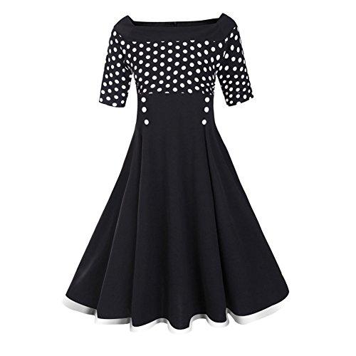 Wealsex Damen Tupfen Spleiß Kleid Retro Vintage Rockabilly Swing Cocktailkleid