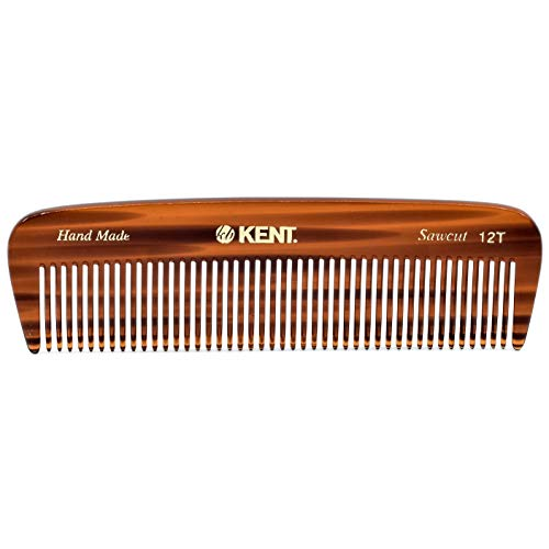 Kent 12T Handmade Medium Size Teeth for Thick/Coarse Hair Comb for Men/Women - For Grooming, Styling, and Detangling (5' / 146mm)