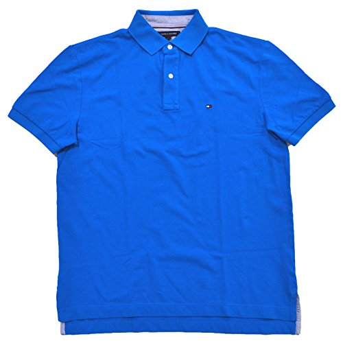 Tommy Hilfiger Mens Mesh Classic Fit Polo Shirt (XS, Bright Blue)