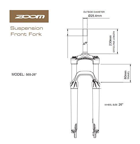 zoom 565 suspension fork for mountain bike al 80mm travel 1-1/8