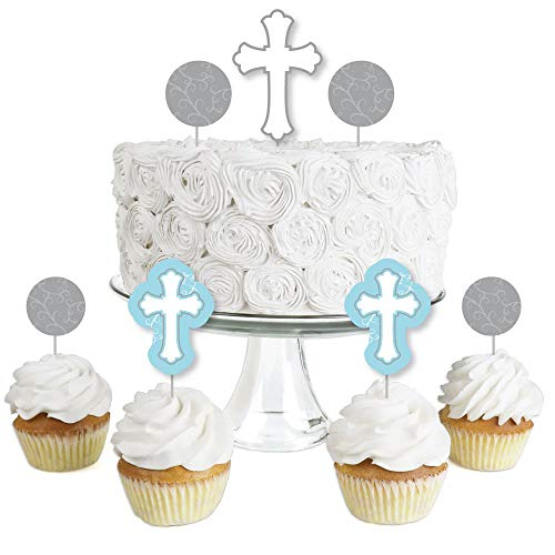 Little Miracle Boy Blue & Gray Cross - Dessert Cupcake Toppers - Baptism or Baby Shower Clear Treat Picks - Set of 24