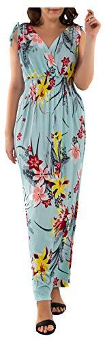 Ladies Floral Vines Imprimir Vestido de Vacaciones de Playa Casual de Verano Maxi día Blue Retro