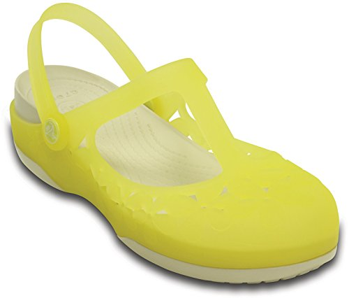 Crocs – Womens Crocs Carlie Flower Mary Jane, Size: 8 B(M) US Womens, Color: Chartreuse/Stucco