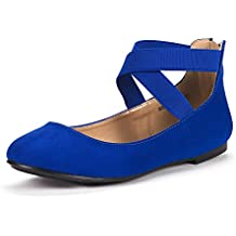 DREAM PAIRS Women's Sole_Stretchy Fashion Elastic Ankle Straps Flats Shoes