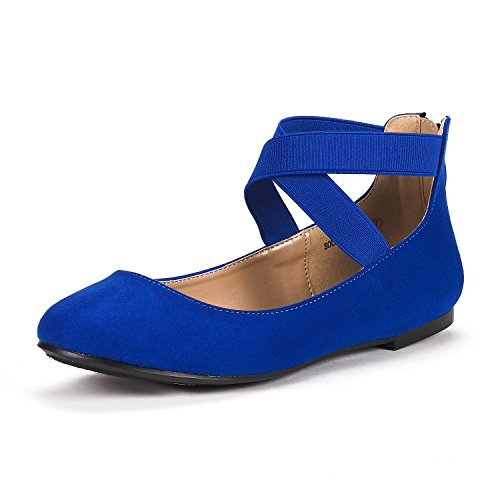 Ankle Strap Flat Shoes (DREAM PAIRS Women's Sole_Stretchy Royal Blue Fashion Elastic Ankle Straps Flats Shoes Size 8 M US)