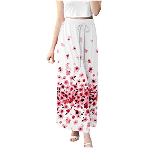 JOFOW Womens Wide Leg Pants Boho Flowers Floral Print Loose Swing Pleated Dress Pant High Waist Drawstring Crop Trousers Gift (M,Cream)