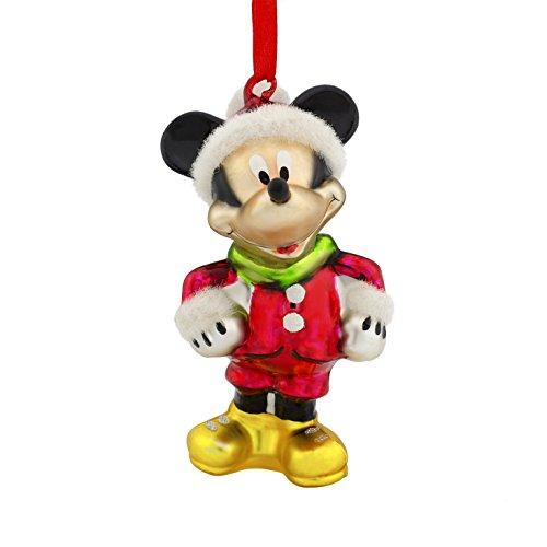 Hallmark Disney Mickey Mouse Santa Blown Glass Figurine C...