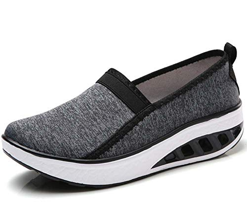 Mujer Respirable Aptitud Sacudir Zapatos 2018 Otoño PU Ligero Deportes Zapatos Grande Tamaño Negro