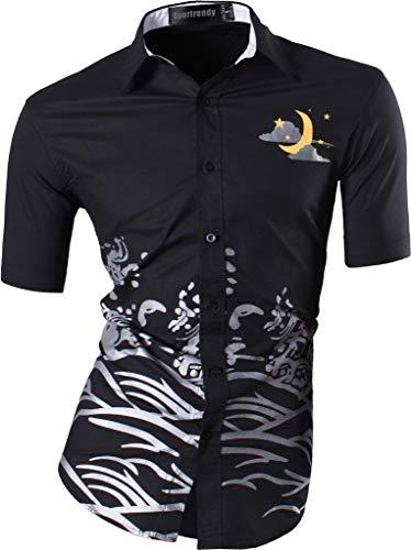 Manica Moda jzs083 Men Sportrendy Black Fit Estate Camicie Corta Fashion Casual Uomo Jzs055 Slim Tops Shirts xStBtwa