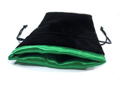 (5x8 Elven Green Premium Black Velvet Dice Bag with Strong Green Satin Lining (Dice Bag Capacity is 15 Sets / 100 Dice / 1 Pound of)