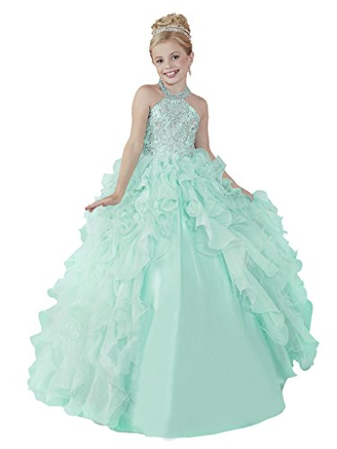 HuaMei Little Girls' Chiffon Halter Birthday Party Ball Gowns Kids Pageant Dresses 8 US Mint Green ()