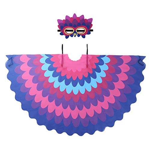 dPois Unisex Boys Girls' Fairy Bird Parrot Owl Costumes Wings Cape with Felt Eye Mask for Halloween Fancy Dress Up Colorful Type C One Size