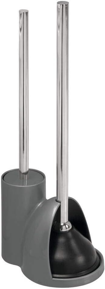 Plunger Set mDesign Freestanding Bathroom Toilet Bowl Brush Gray//Brushed