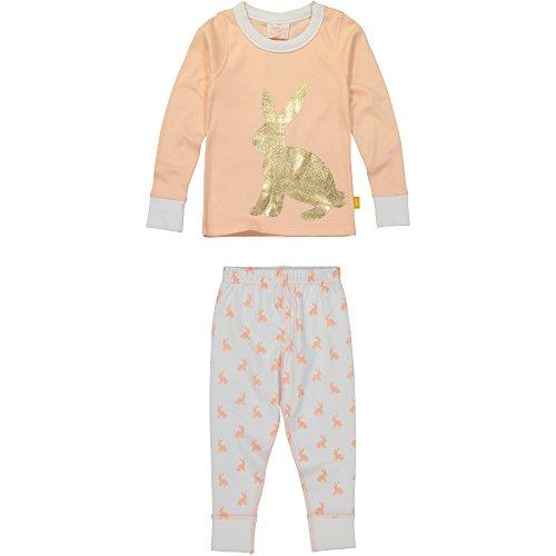 Masala Kids Toddler Girls' Kids PJS Long Sleeve Bunny Hop Gold, Peach, 2 Years