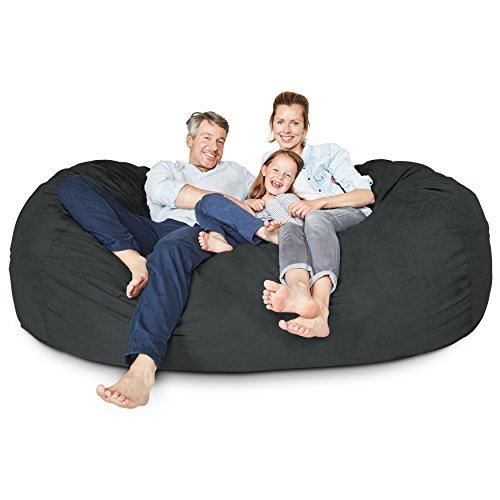 Lumaland Luxury 7-Foot Bean Bag Chair with Microsuede Cover Black, Machine Washable Big Size Sofa and Giant Lounger Furniture for Kids, Teens and ()
