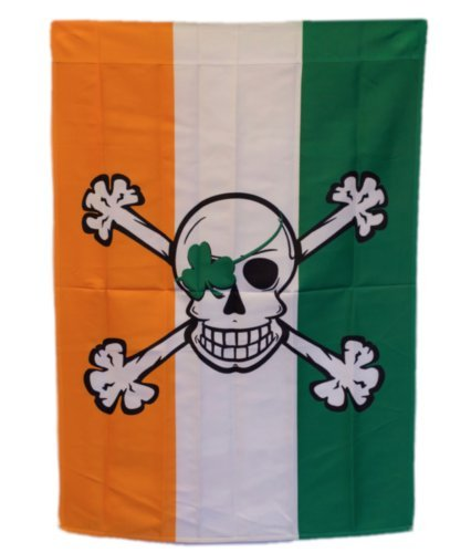 ALBATROS 28 in x 40 in Pirate Shamrock Blarney Bones Sleeved Garden Flag 28 in x 40 in Nylon Banner for Home and Parades, Official Party, All Weather Indoors Outdoors