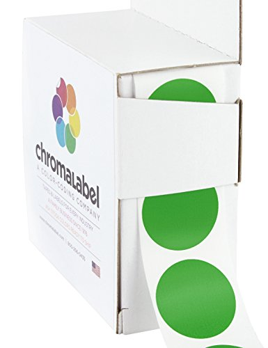 "1"" Green, Color-Code Dot Labels (Write On Surface) 