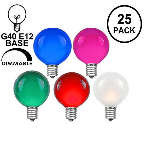 Novelty Lights 25 Pack G40 Outdoor Globe Replacement Bulbs, Multi, C7/E12 Candelabra Base, 5 Watt