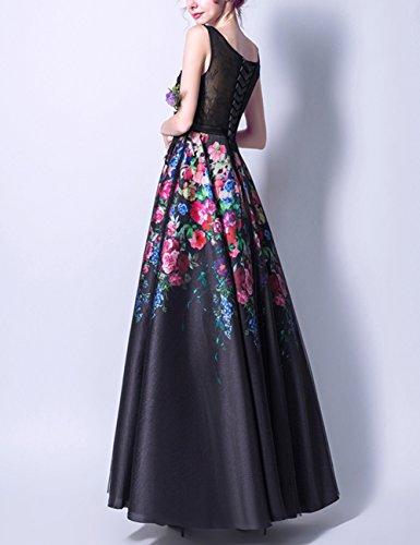 Partykleider Lang Print Schwarz Floral Promkleider LuckyShe Ballkleid Abendkleider Damen q04n4O5F