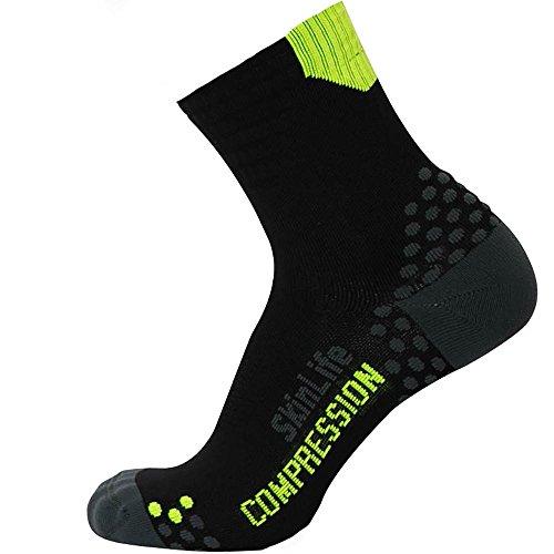 Pure Compression Running Socks – Anti-Blister Quarter Length Sport Socks – Dot Padding Technology