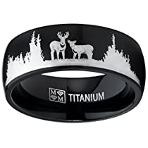 Metal Masters Co.® Mens Black Outdoor Hunting Titanium Ring Wedding Band with Laser Etched Deer Stag Scene 8mm
