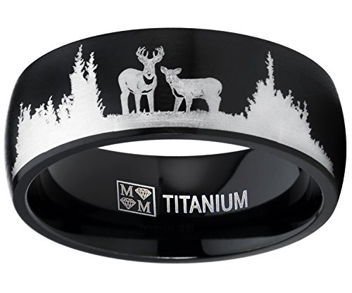 Men's Black Outdoor Hunting Titanium Ring Wedding Band with Laser Etched Deer Stag Scene (Etched Wedding Rings)