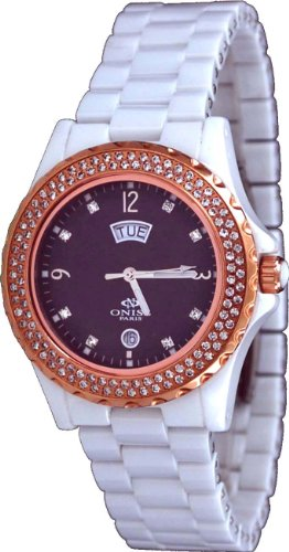 Oniss #ON6200-LRG Women's Crystal Accented Bezel and Index Charcoal MOP Dial White Ceramic Watch
