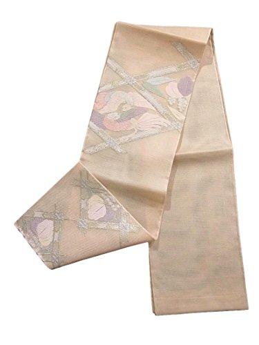 大使おしゃれなバルクリサイクル 袋帯 正絹 夏物 紗 襷格子に桐鳳凰図