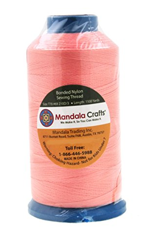 Mandala Crafts Bonded Nylon Thread for Sewing Leather, Upholstery, Jeans and Weaving Hair; Heavy-Duty; 1500 Yards Size 69 T70 (Blush)