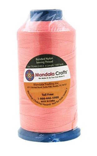 Mandala Crafts Bonded Nylon Sewing Thread, 1500 Yard Size #69 T70 (Blush) by Mandala Crafts