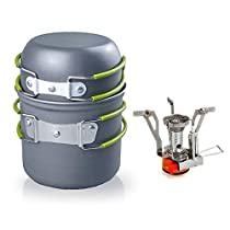 RioRand Outdoor Camping Cookware Backpacking Bowl Pot+ Mini Canister Stove Burner Foldable (2 piecesset)