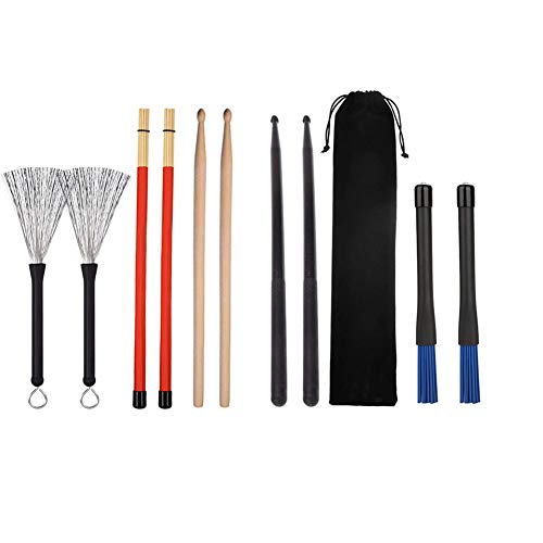 Timiy 4 Pairs Wood and Nylon Drum Sticks with Drum Brushes - Metal Drumsticks Classic