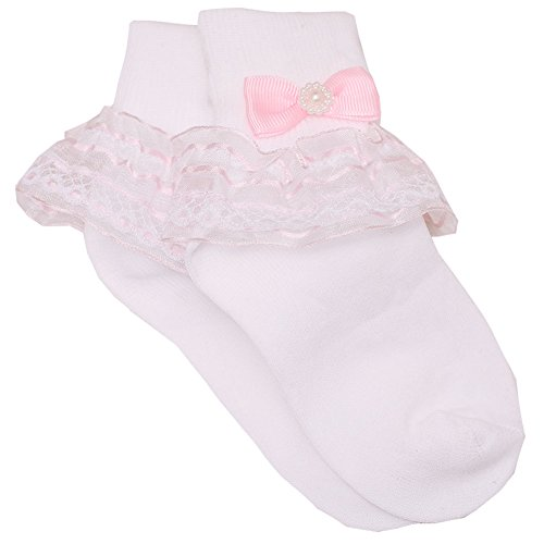 Ruffled Accent (Piccolo Baby Girls White Pink Grosgrain Bow Accent Ruffled Socks 4-5.5)