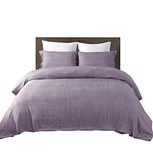 Vanansa Microfiber Duvet Cover Set- Ultra Soft and Easy Care 3-Piece Bedding Set with Button Closure, Duvet Cover Queen Size Purple
