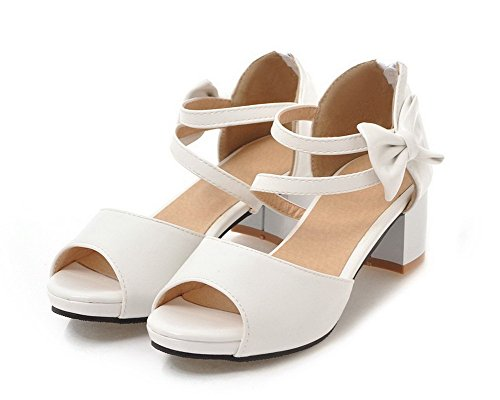 Solid Women's Toe Kitten White WeiPoot Zipper Sandals Heels Open Pu EGHLH006565 wFSq5Zd5T