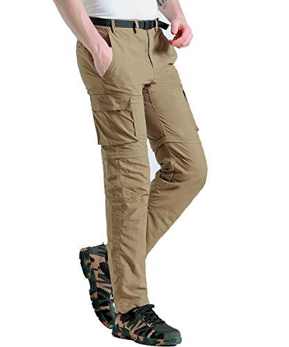 Gash Hao Outdoor Hiking Convertible Pants Mens Quick Dry Water Resistant Cargo Pockets Breathable Lightweight (Khaki 38x32)