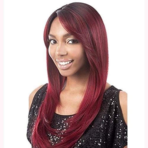 XISAY Long Hair Curd Red Long Hair Straight In The Original High Temperature Silk Sexy Lady Full Wig Natural Color Heat Resistant Cheap for Party Wigs Daily Dress High Density XISAY