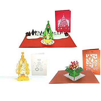 Amazon Com 3d Christmas Cards Paper Love Assorted 3 Pack Pop Up