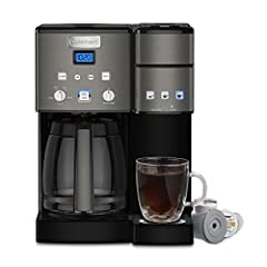 The Cuisinart Coffee center features a fully automatic 12-Cup coffeemaker on one side and a single-serve brewer on the other. Sipping solo or serving a crowd, it's easy to enjoy the gourmet taste you expect from a Cuisinart coffeemaker. And o...