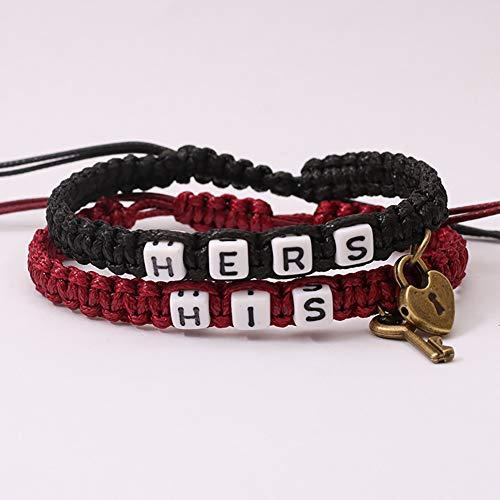 Oyov2L 2Pcs/Set HIS Hers Letter Lock Key Charm Handmade Woven Couple Bracelet Bangle E