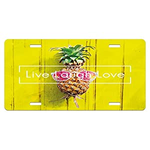 Live Laugh Love License Plate by Ambesonne, Tropical Pineapple Fruit with Sunglasses on Yellow Wood Board Joyful Print, High Gloss Aluminum Novelty Plate, 5.88 L X 11.88 W Inches, Multicolor