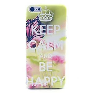 iPhone 5C Case - LUOLNH Fashion Style Colorful Painted Keep CALM and Be Happy TPU Silicone Gel Back Cover Protector Skin For iPhone 5C by supermalls