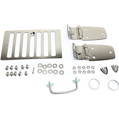 (Hood Hinge for Jeep TJ 98-05 Set Incl. Hood Vent Footman Loops and Windshield Tie Down Kit Stainless Left and Right Side)
