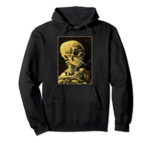 Unisex Skull with Burning Cigarette by Vincent van Gogh Hoodie Medium Black