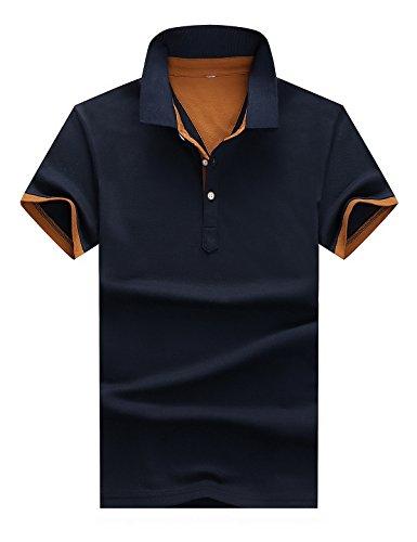 b6002b76b Men's Summer Short Sleeve Casual Slim Fit Golf Business Polo Shirt (Large,  Navy Blue