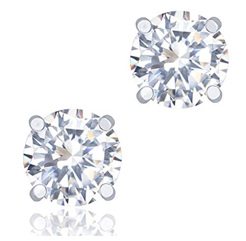 2 pairs Sterling Silver 0.5 Carat Simulated Diamond Earring Studs 5mm Ear Studs w/Earnuts Anniversary Birthday Mother's Women Girls Gift SSE77