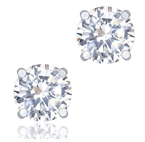 er 0.5 Carat Simulated Diamond Earring Studs 5mm Earrings w/Earnuts Anniversary Birthday Mother's Women Girls Gift SSE77 ()