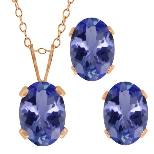 Gem Stone King 1.65 Ct Oval Blue Tanzanite Gold Plated Silver Pendant Earrings Set